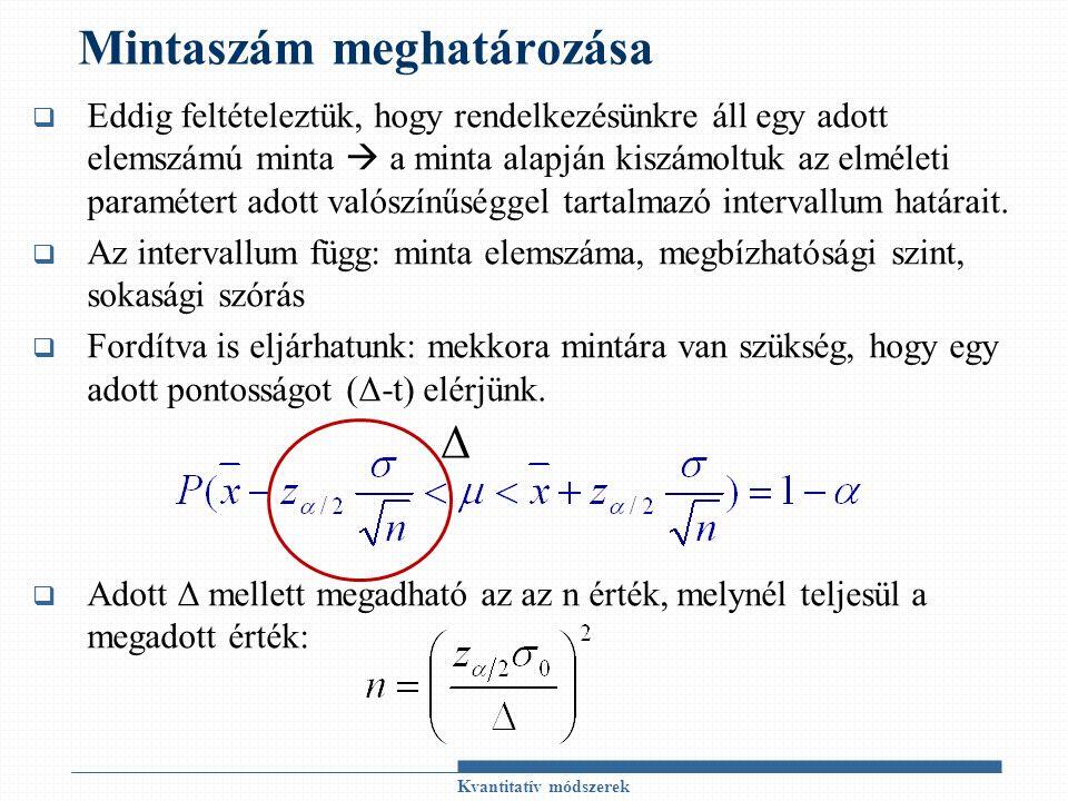 Mintaszám meghatározása  Eddig feltételeztük, hogy rendelkezésünkre áll egy adott elemszámú minta  a minta alapján kiszámoltuk az elméleti paramétert adott valószínűséggel tartalmazó intervallum határait.