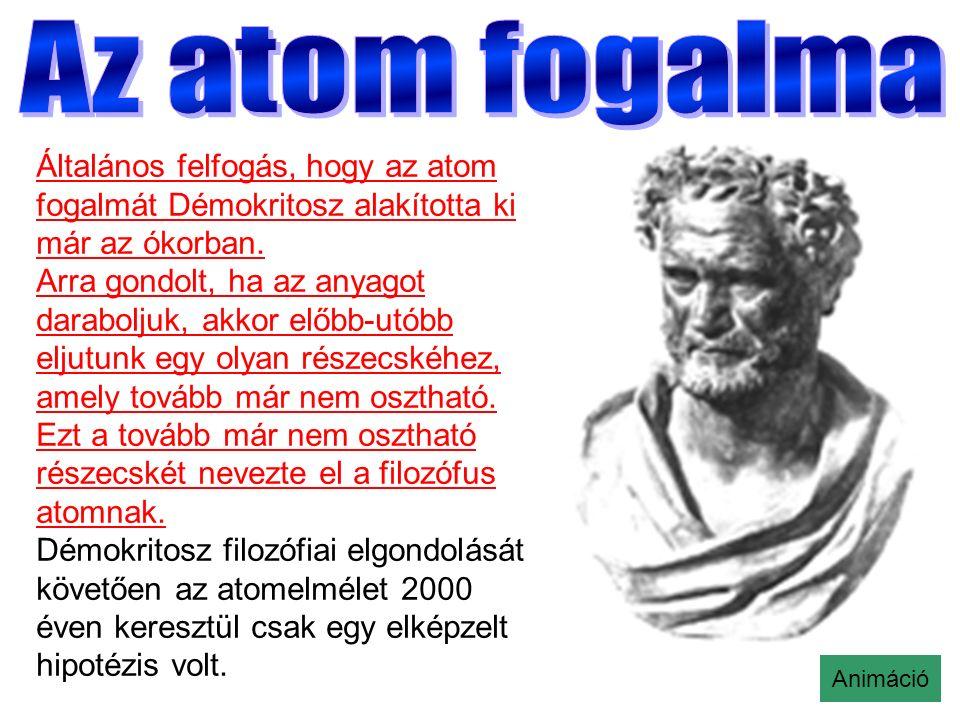 Általános felfogás, hogy az atom fogalmát Démokritosz alakította ki már az ókorban.