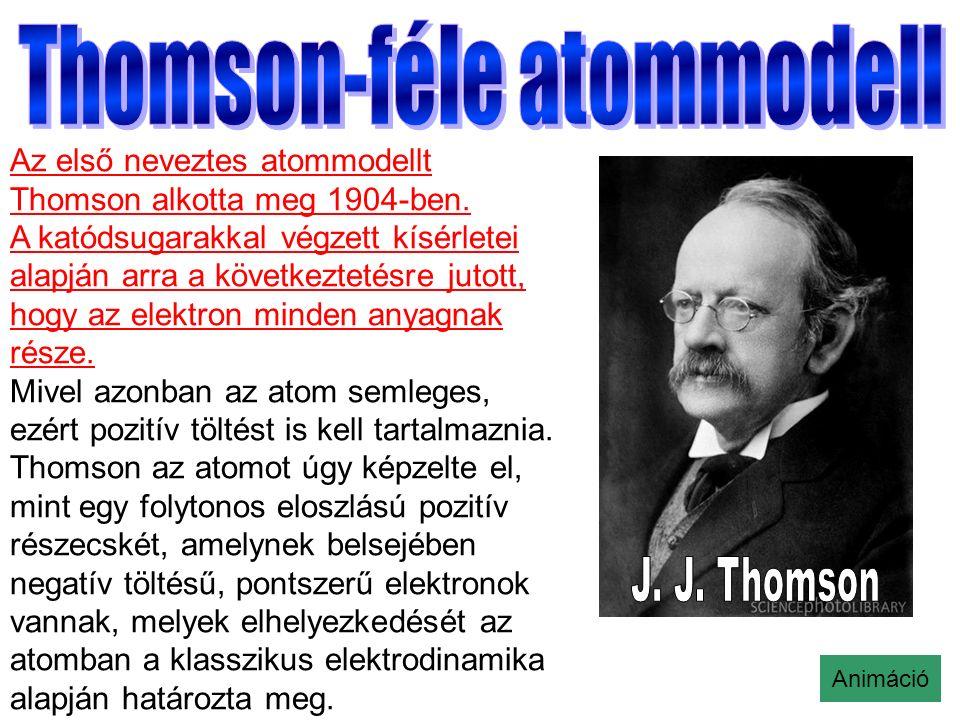 Az első neveztes atommodellt Thomson alkotta meg 1904-ben.