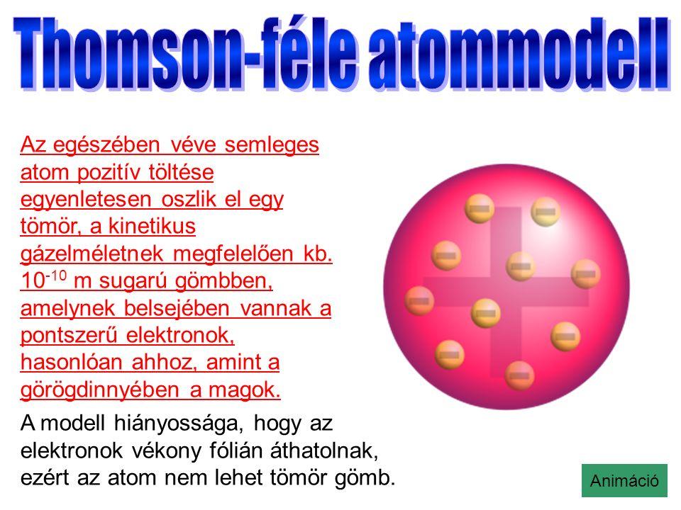 Az egészében véve semleges atom pozitív töltése egyenletesen oszlik el egy tömör, a kinetikus gázelméletnek megfelelően kb.