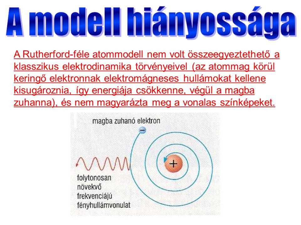 A Rutherford-féle atommodell nem volt összeegyeztethető a klasszikus elektrodinamika törvényeivel (az atommag körül keringő elektronnak elektromágneses hullámokat kellene kisugároznia, így energiája csökkenne, végül a magba zuhanna), és nem magyarázta meg a vonalas színképeket.