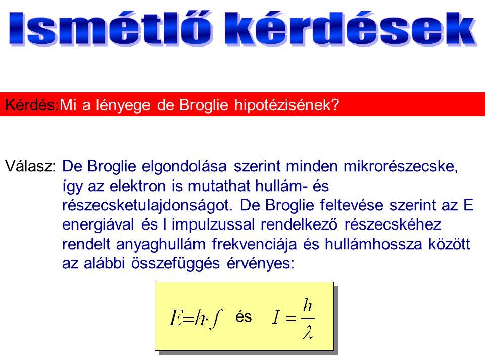 Válasz:De Broglie elgondolása szerint minden mikrorészecske, így az elektron is mutathat hullám- és részecsketulajdonságot.