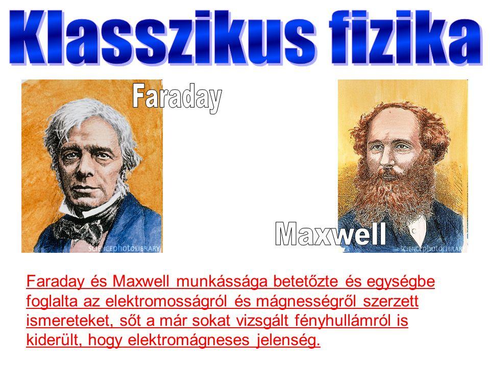 Faraday és Maxwell munkássága betetőzte és egységbe foglalta az elektromosságról és mágnességről szerzett ismereteket, sőt a már sokat vizsgált fényhullámról is kiderült, hogy elektromágneses jelenség.