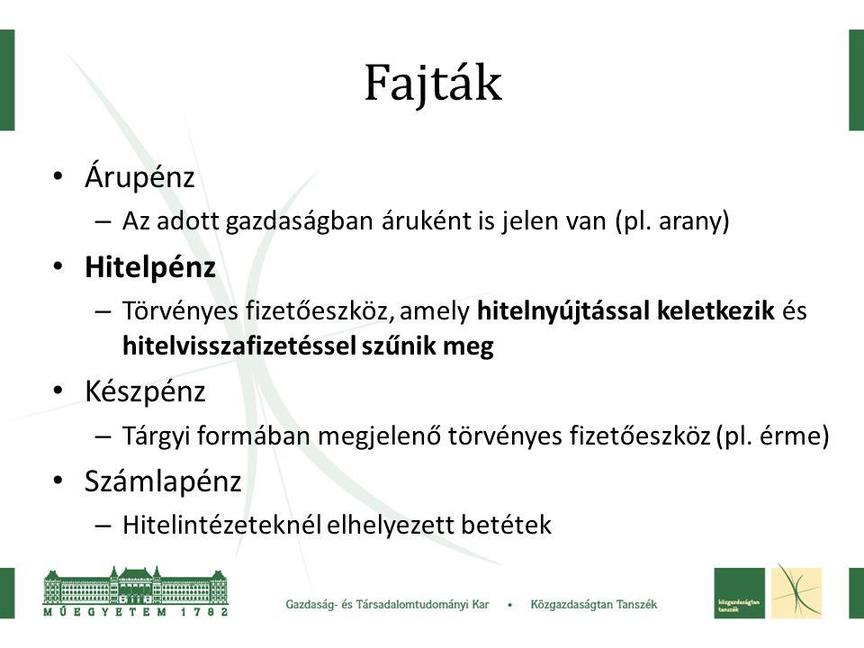 Fajták Árupénz – Az adott gazdaságban áruként is jelen van (pl.