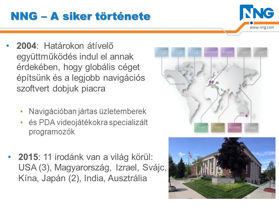 NNG – A siker története 2004: Határokon átívelő együttműködés indul el annak érdekében, hogy globális céget építsünk és a legjobb navigációs szoftvert dobjuk piacra Navigációban jártas üzletemberek és PDA videojátékokra specializált programozók 2015: 11 irodánk van a világ körül: USA (3), Magyarország, Izrael, Svájc, Kína, Japán (2), India, Ausztrália