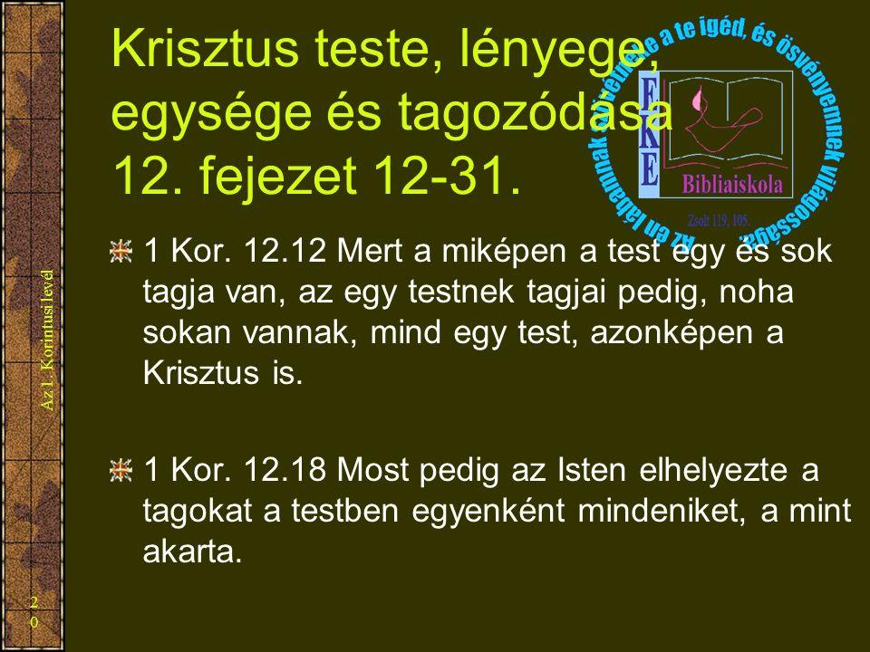 Az 1. Korintusi levél 20 Krisztus teste, lényege, egysége és tagozódása 12. fejezet 12-31. 1 Kor. 12.12 Mert a miképen a test egy és sok tagja van, az