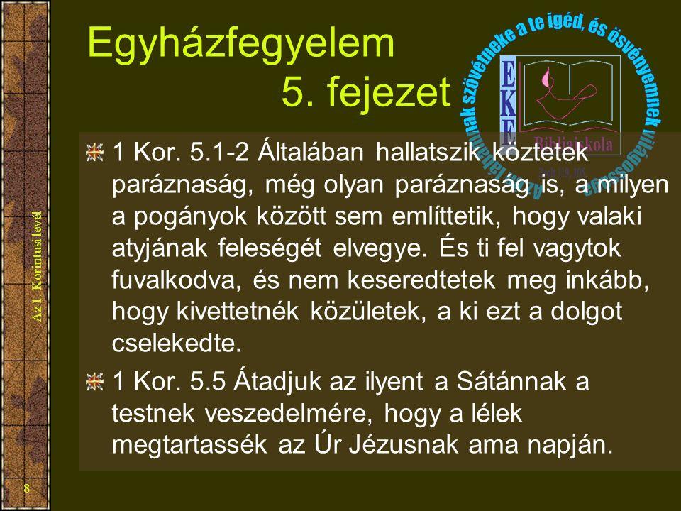 Az 1. Korintusi levél 8 Egyházfegyelem 5. fejezet 1 Kor. 5.1-2 Általában hallatszik köztetek paráznaság, még olyan paráznaság is, a milyen a pogányok