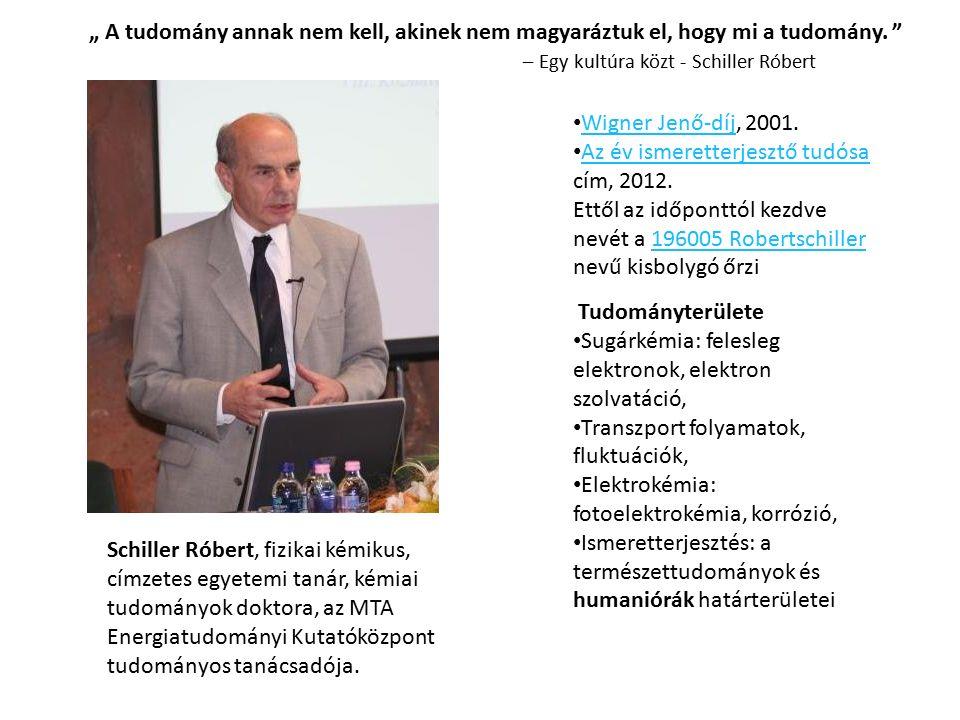 Schiller Róbert, fizikai kémikus, címzetes egyetemi tanár, kémiai tudományok doktora, az MTA Energiatudományi Kutatóközpont tudományos tanácsadója.