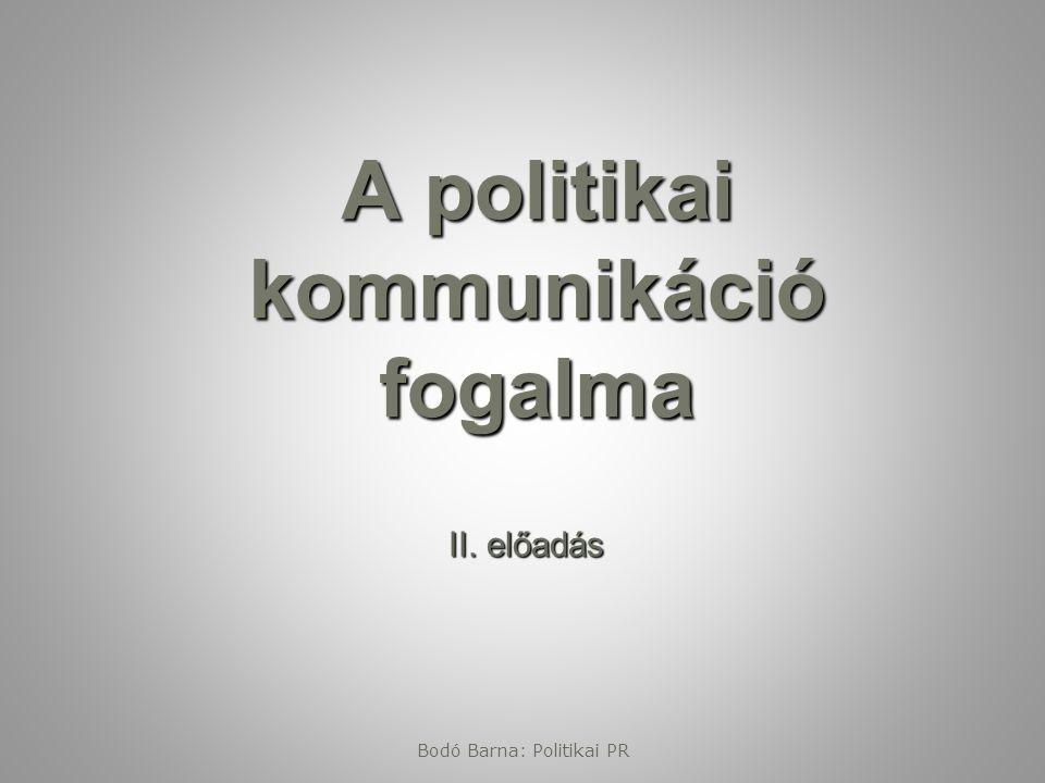 A politikai kommunikáció fogalma II. előadás Bodó Barna: Politikai PR
