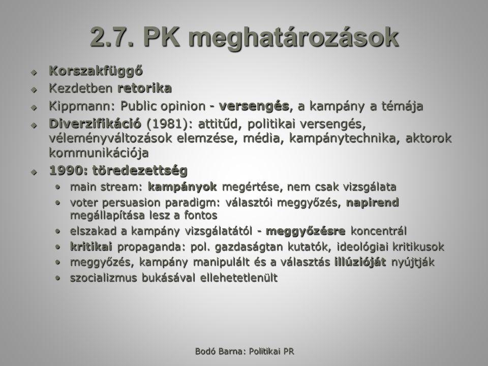 2.7. PK meghatározások  Korszakfüggő  Kezdetben retorika  Kippmann: Public opinion - versengés, a kampány a témája  Diverzifikáció (1981): attitűd