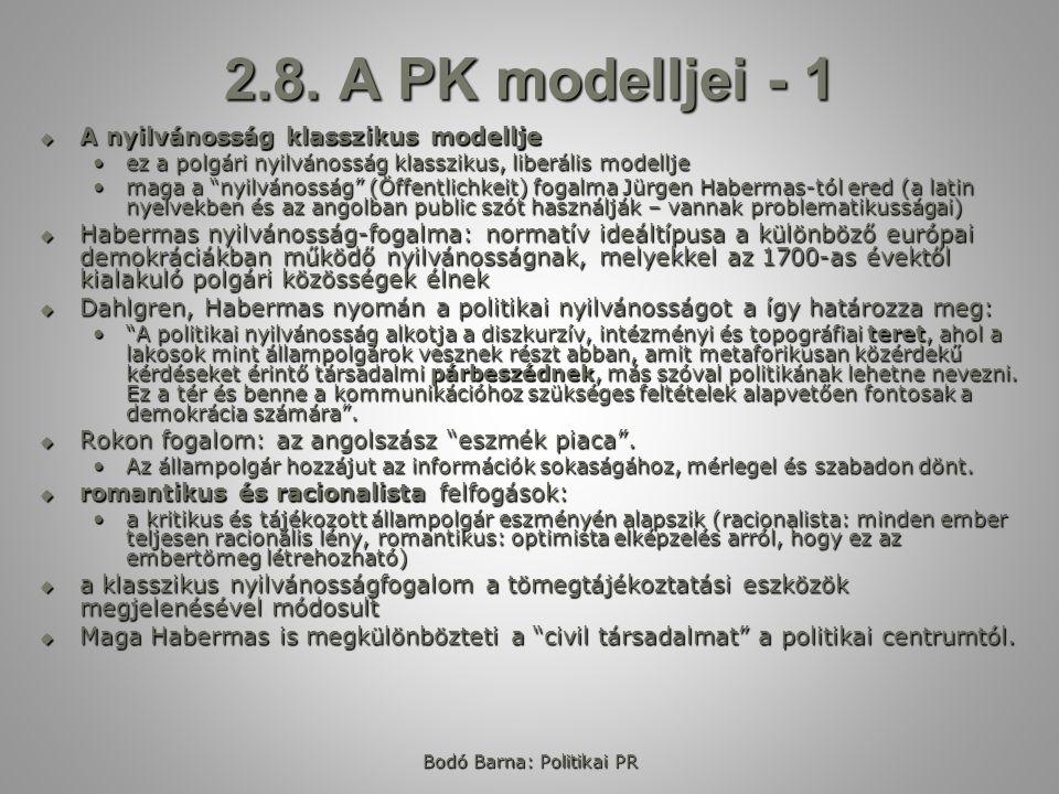 2.8. A PK modelljei - 1  A nyilvánosság klasszikus modellje ez a polgári nyilvánosság klasszikus, liberális modelljeez a polgári nyilvánosság klasszi