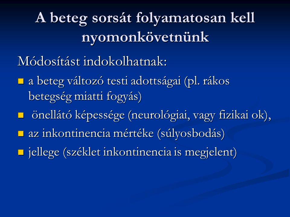 A beteg sorsát folyamatosan kell nyomonkövetnünk Módosítást indokolhatnak: a beteg változó testi adottságai (pl. rákos betegség miatti fogyás) a beteg