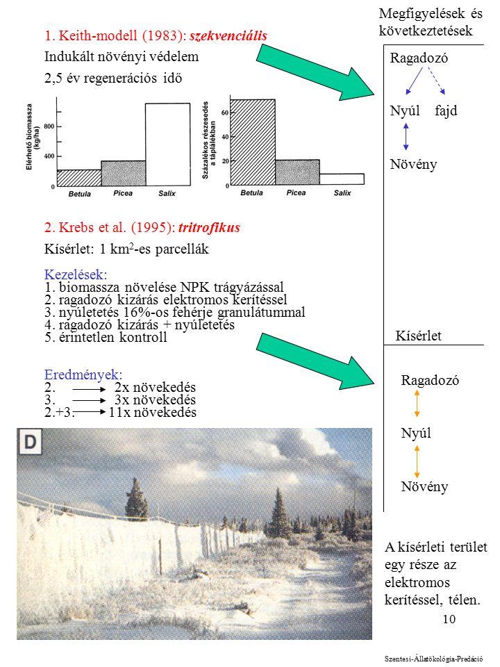 10 1. Keith-modell (1983): szekvenciális Indukált növényi védelem 2,5 év regenerációs idő 2.