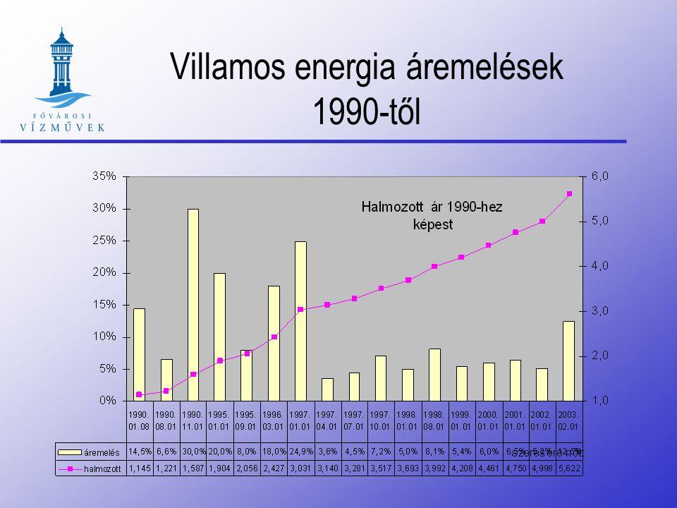 Villamos energia átlagár változás 1989-hez képest