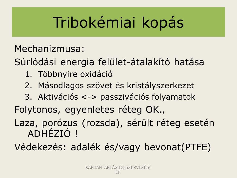 Tribokémiai kopás Mechanizmusa: Súrlódási energia felület-átalakító hatása 1.Többnyire oxidáció 2.Másodlagos szövet és kristályszerkezet 3.Aktivációs