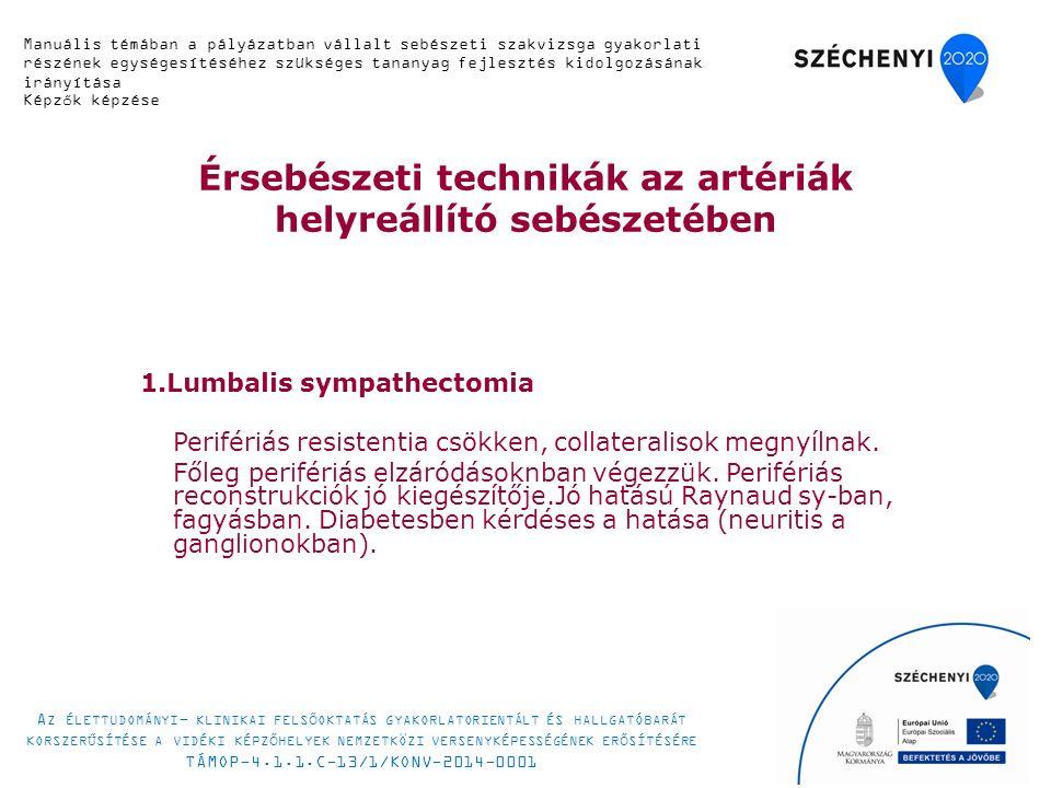 Érsebészeti technikák az artériák helyreállító sebészetében 1.Lumbalis sympathectomia Perifériás resistentia csökken, collateralisok megnyílnak. Főleg