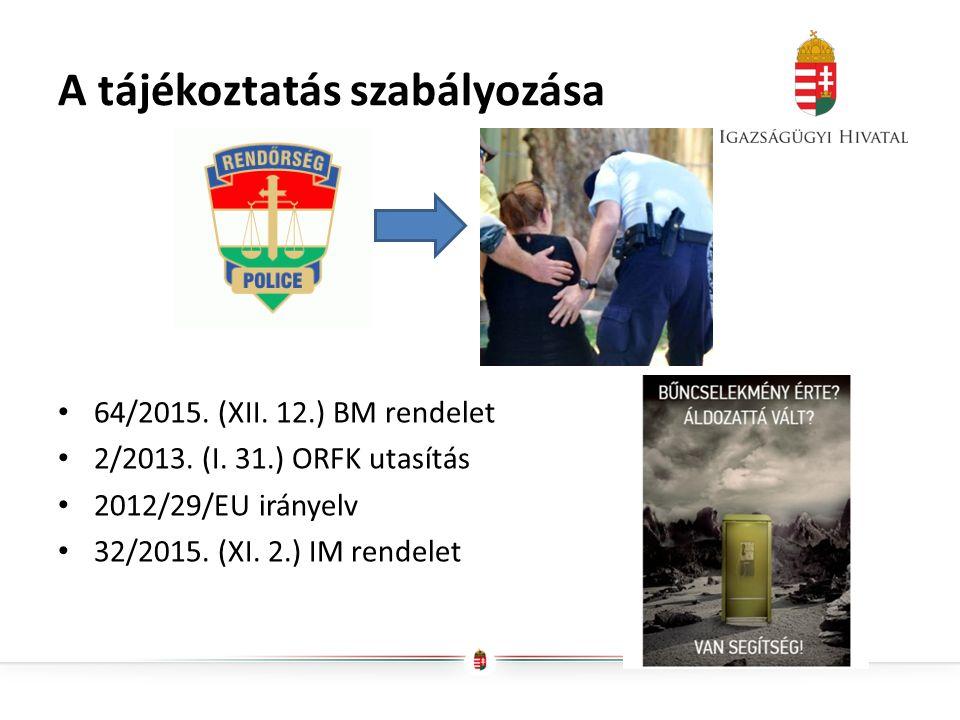 A tájékoztatás szabályozása 64/2015. (XII. 12.) BM rendelet 2/2013.