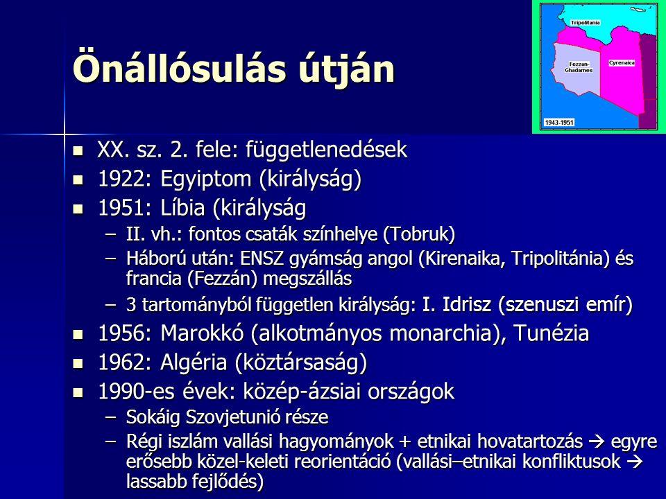 Önállósulás útján XX. sz. 2. fele: függetlenedések XX. sz. 2. fele: függetlenedések 1922: Egyiptom (királyság) 1922: Egyiptom (királyság) 1951: Líbia