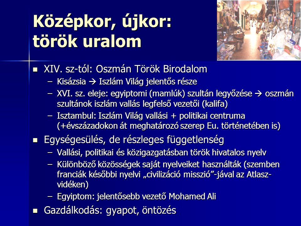 Középkor, újkor: török uralom XIV. sz-tól: Oszmán Török Birodalom XIV. sz-tól: Oszmán Török Birodalom –Kisázsia  Iszlám Világ jelentős része –XVI. sz