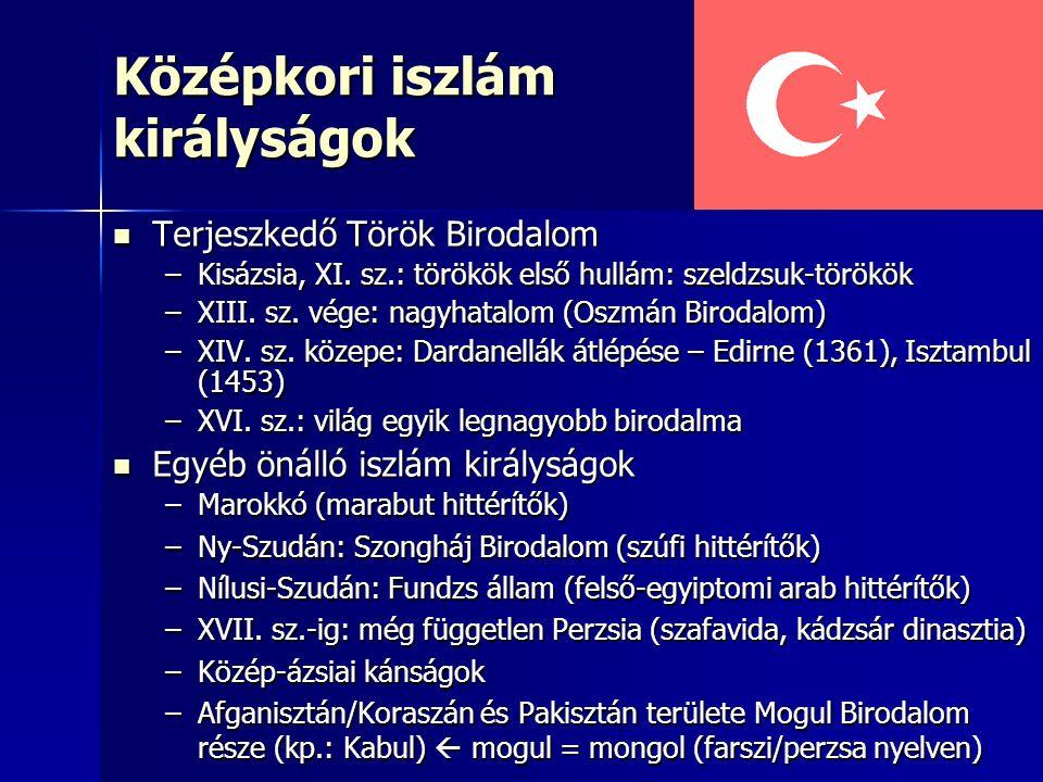 Középkori iszlám királyságok Terjeszkedő Török Birodalom Terjeszkedő Török Birodalom –Kisázsia, XI. sz.: törökök első hullám: szeldzsuk-törökök –XIII.