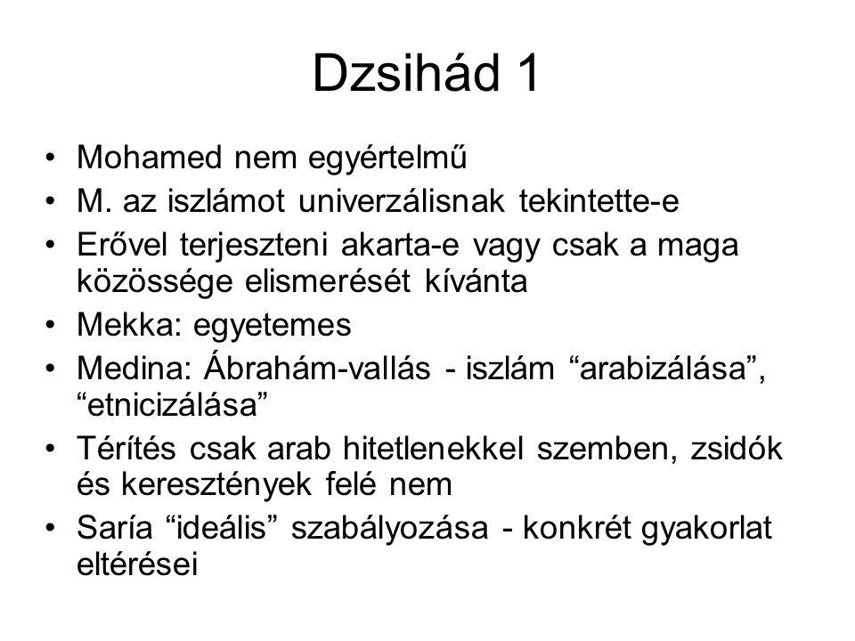 Dzsihád 2 Keresztes hadjáratok idején nincs dzsihád Nincs egységes birodalom, anarchia, széttagoltság Törzsi hagyományokat őrző fejedelemségek Szövetségek nem vallás szerint Muszlim-frank együttélés Dzsihád csak Imád ad-Dín Zangí, moszuli atabég (1127-1146) –1144: Edessza elfoglalása