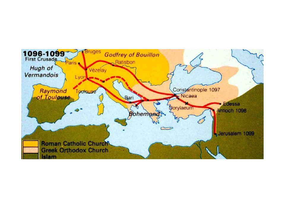 Első keresztes háború Iconiumi szeldzsuk szultán, Kilidzs Arszlán ellen 1096 Nikaia (Nicea): szeldzsuk győzelem 1097: Nicea elesik (Bizáncnak adja meg magát) 1098: Edesszai grófság, Antiochiai fejedelemség 1098: Fátimidák elfoglalják Jeruzsálemet Szövetségi ajánlat a kereszteseknek Török emírek közötti megosztottságok, hatalmi harcok Mindenki harcolt mindenki ellen: szövetségek nem vallási hovatartozás, hanem pillanatnyi érdekek szerint