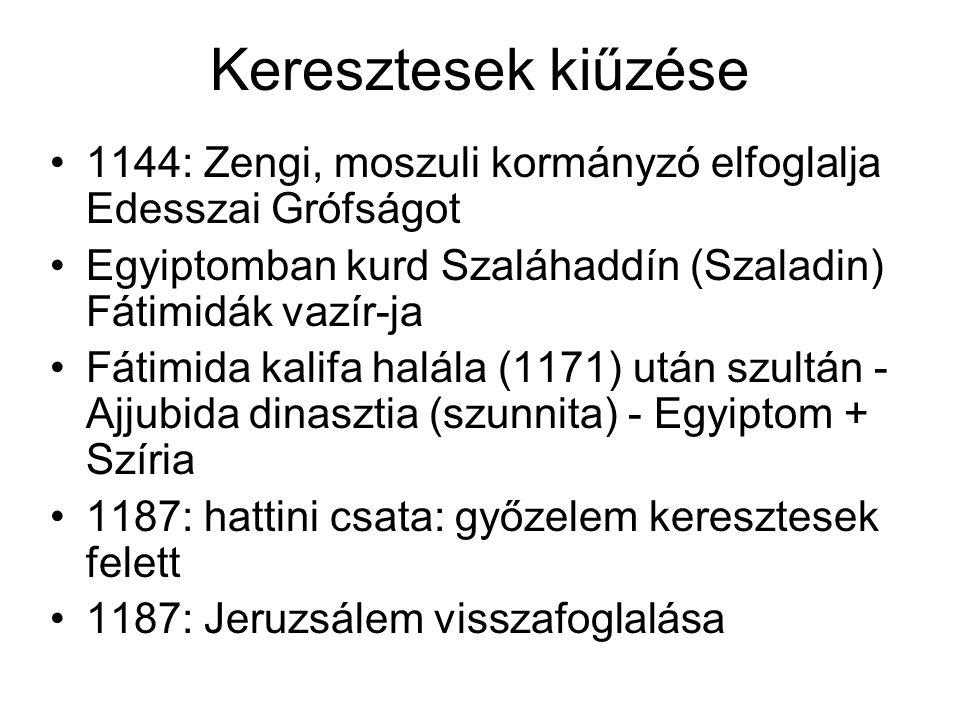 Keresztesek kiűzése 1144: Zengi, moszuli kormányzó elfoglalja Edesszai Grófságot Egyiptomban kurd Szaláhaddín (Szaladin) Fátimidák vazír-ja Fátimida kalifa halála (1171) után szultán - Ajjubida dinasztia (szunnita) - Egyiptom + Szíria 1187: hattini csata: győzelem keresztesek felett 1187: Jeruzsálem visszafoglalása