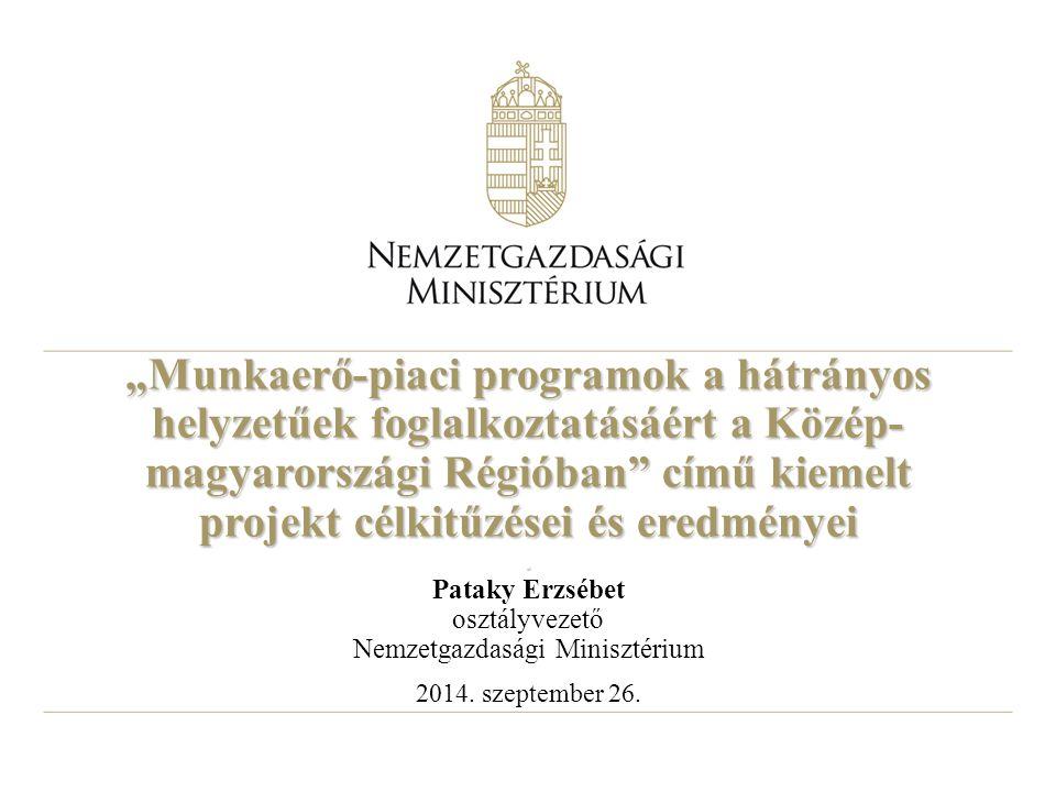 """""""Munkaerő-piaci programok a hátrányos helyzetűek foglalkoztatásáért a Közép- magyarországi Régióban című kiemelt projekt célkitűzései és eredményei."""