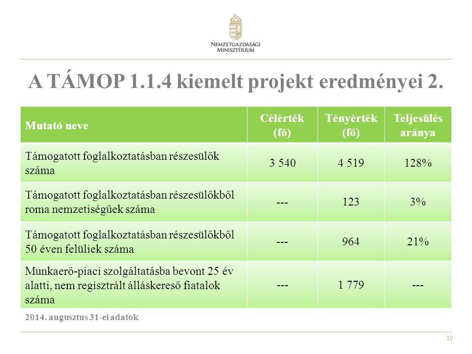 10 A TÁMOP 1.1.4 kiemelt projekt eredményei 2.