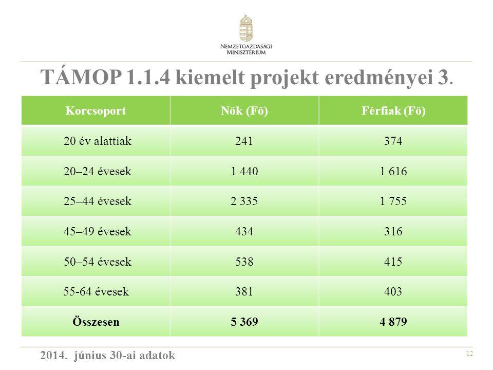 12 KorcsoportNők (Fő)Férfiak (Fő) 20 év alattiak241374 20–24 évesek1 4401 616 25–44 évesek2 3351 755 45–49 évesek434316 50–54 évesek538415 55-64 évesek381403 Összesen5 3694 879 TÁMOP 1.1.4 kiemelt projekt eredményei 3.