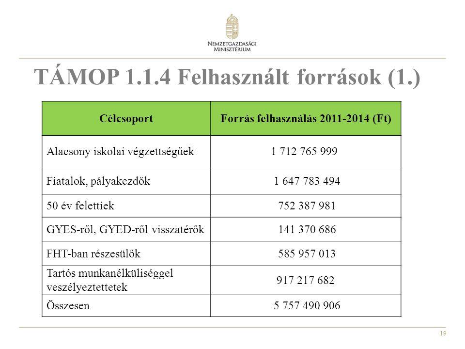 19 TÁMOP 1.1.4 Felhasznált források (1.) CélcsoportForrás felhasználás 2011-2014 (Ft) Alacsony iskolai végzettségűek1 712 765 999 Fiatalok, pályakezdők 1 647 783 494 50 év felettiek 752 387 981 GYES-ről, GYED-ről visszatérők 141 370 686 FHT-ban részesülők 585 957 013 Tartós munkanélküliséggel veszélyeztettetek 917 217 682 Összesen 5 757 490 906