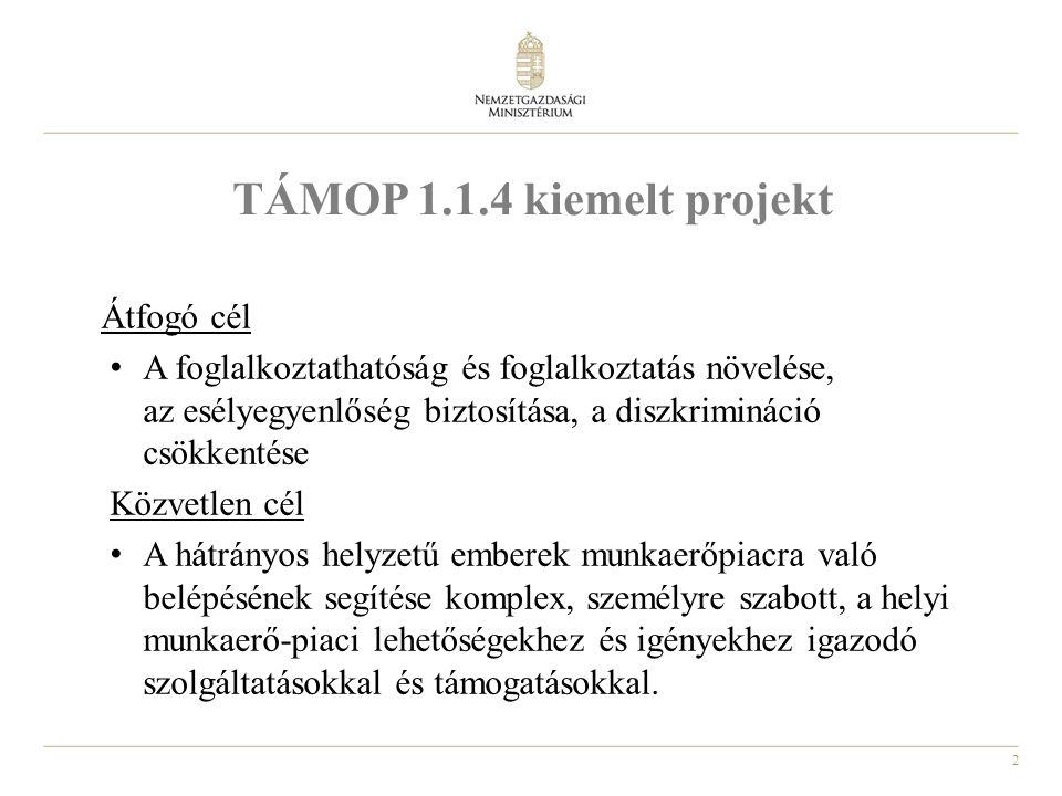 3 A TÁMOP 1.1.4 kiemelt projekt Megvalósítás időtartama: 2011.