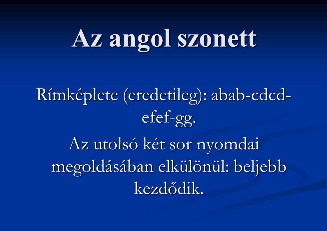 Az angol szonett Rímképlete (eredetileg): abab-cdcd- efef-gg. Az utolsó két sor nyomdai megoldásában elkülönül: beljebb kezdődik.