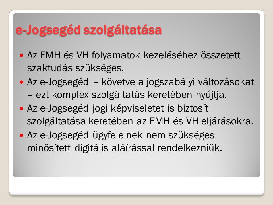 e-Jogsegéd szolgáltatása Az FMH és VH folyamatok kezeléséhez összetett szaktudás szükséges. Az e-Jogsegéd – követve a jogszabályi változásokat – ezt k