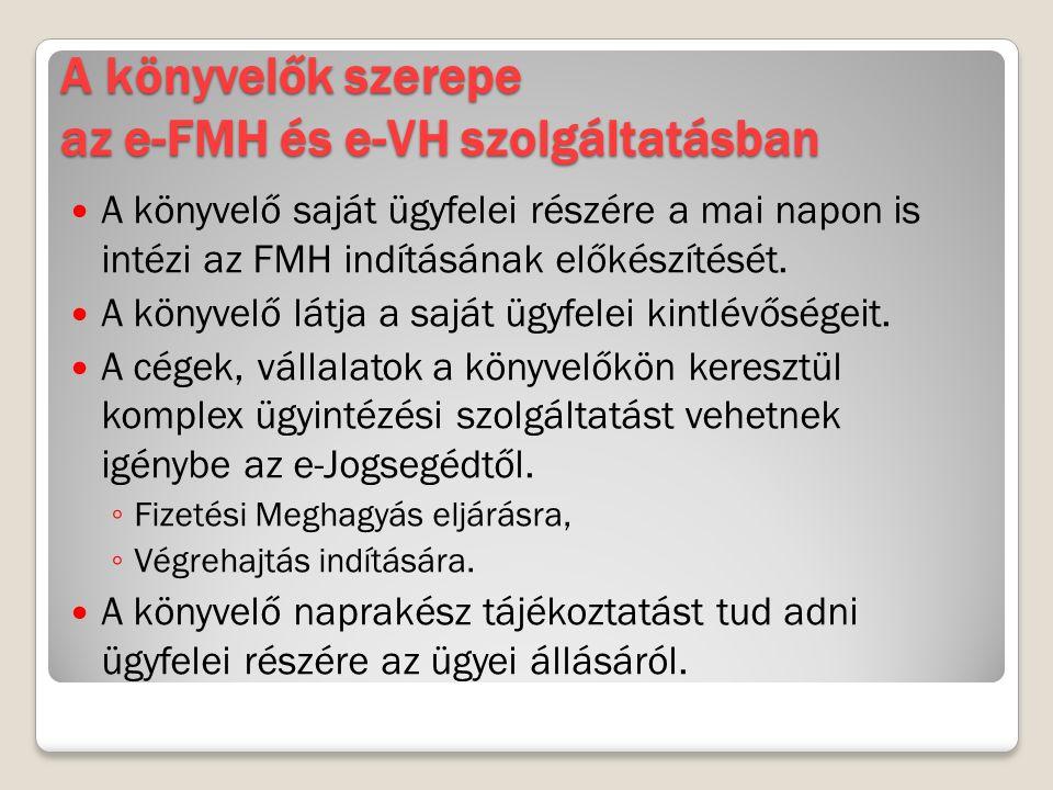 A könyvelők szerepe az e-FMH és e-VH szolgáltatásban A könyvelő saját ügyfelei részére a mai napon is intézi az FMH indításának előkészítését. A könyv