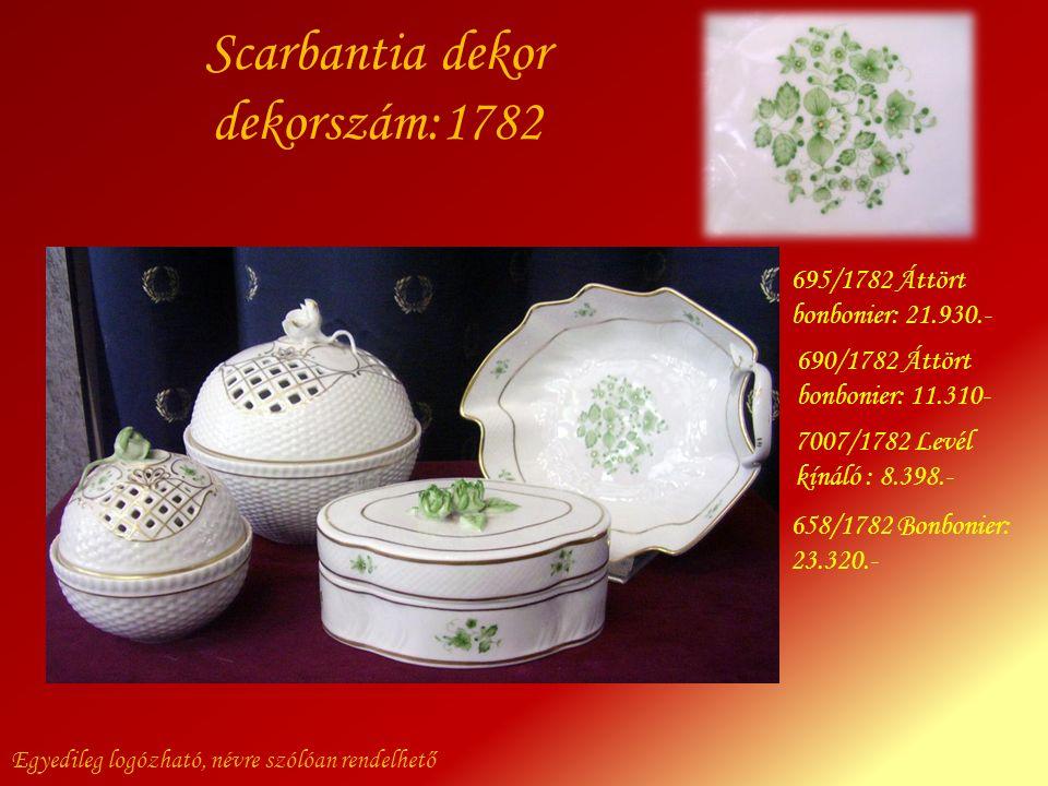 Scarbantia dekor dekorszám:1782 Egyedileg logózható, névre szólóan rendelhető 695/1782 Áttört bonbonier: 21.930.- 690/1782 Áttört bonbonier: 11.310- 6