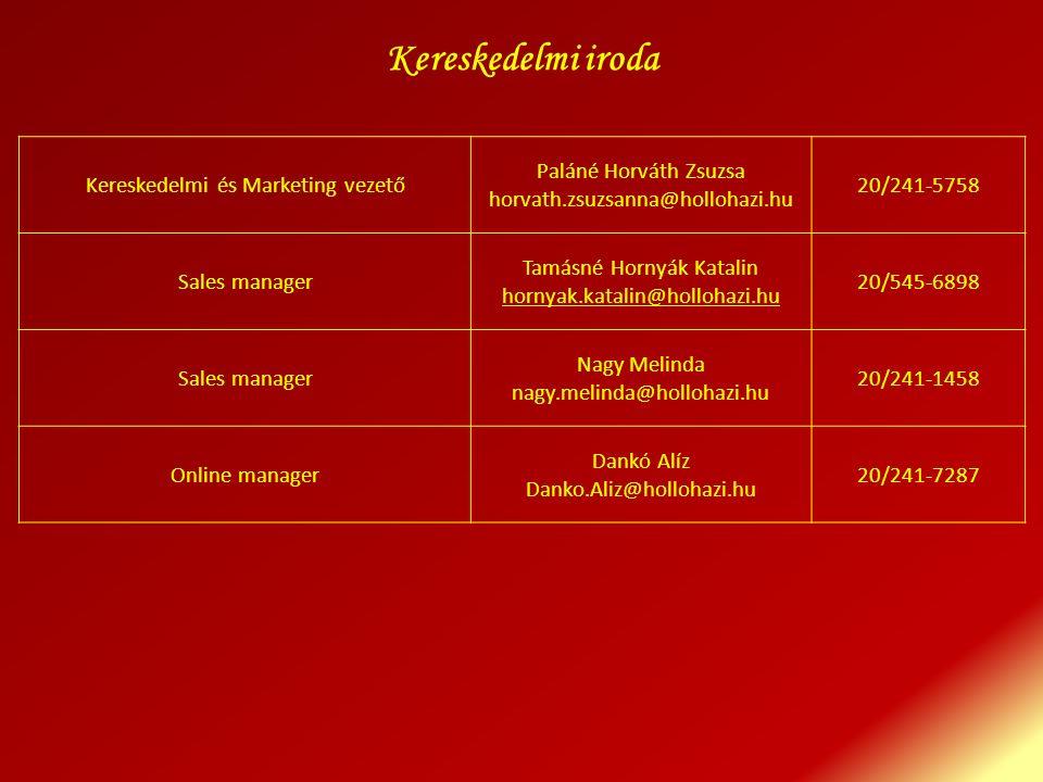 Kereskedelmi és Marketing vezető Paláné Horváth Zsuzsa horvath.zsuzsanna@hollohazi.hu 20/241-5758 Sales manager Tamásné Hornyák Katalin hornyak.katali