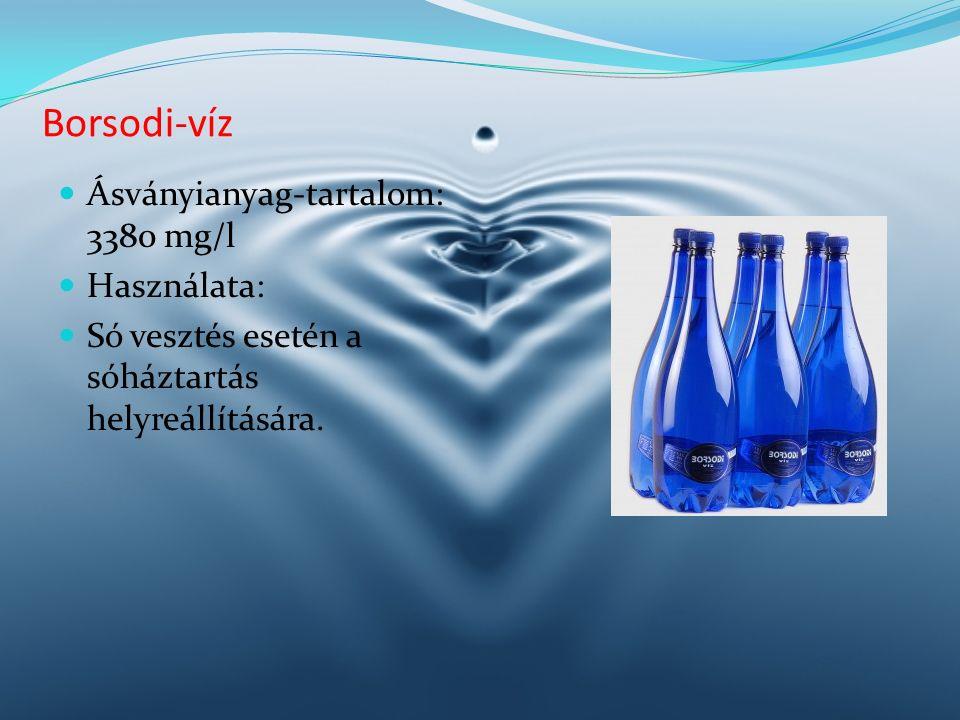 Borsodi-víz Ásványianyag-tartalom: 3380 mg/l Használata: Só vesztés esetén a sóháztartás helyreállítására.