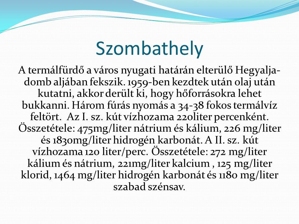 Szombathely A termálfürdő a város nyugati határán elterülő Hegyalja- domb aljában fekszik. 1959-ben kezdtek után olaj után kutatni, akkor derült ki, h