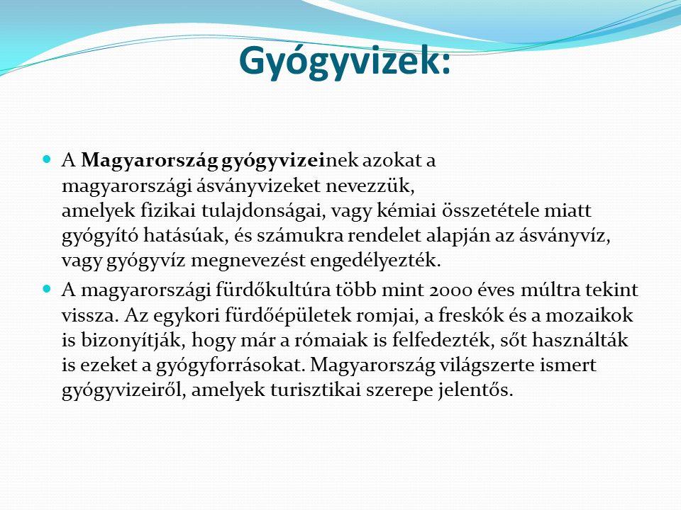 Gyógyvizek: A Magyarország gyógyvizeinek azokat a magyarországi ásványvizeket nevezzük, amelyek fizikai tulajdonságai, vagy kémiai összetétele miatt g