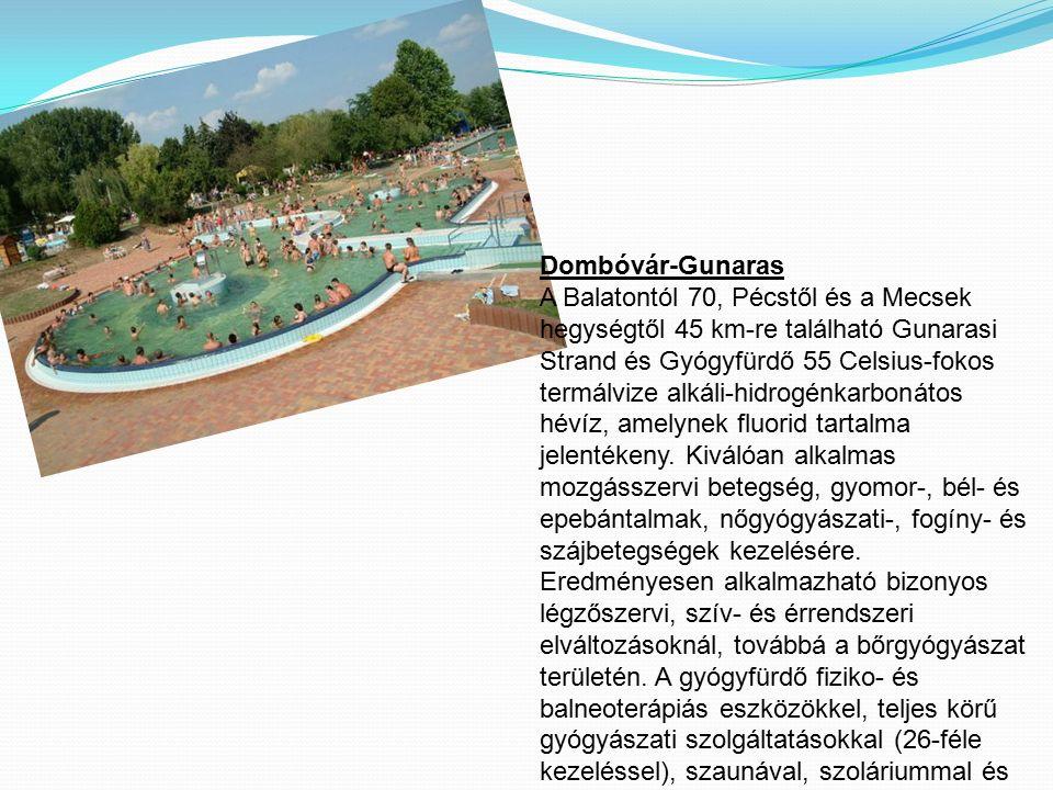 Dombóvár-Gunaras A Balatontól 70, Pécstől és a Mecsek hegységtől 45 km-re található Gunarasi Strand és Gyógyfürdő 55 Celsius-fokos termálvize alkáli-h