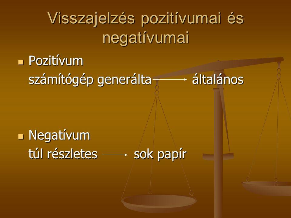 Visszajelzés pozitívumai és negatívumai Pozitívum Pozitívum számítógép generáltaáltalános Negatívum Negatívum túl részletessok papír