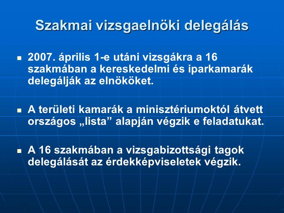 Szakmai vizsgaelnöki delegálás 2007. április 1-e utáni vizsgákra a 16 szakmában a kereskedelmi és iparkamarák delegálják az elnököket. A területi kama