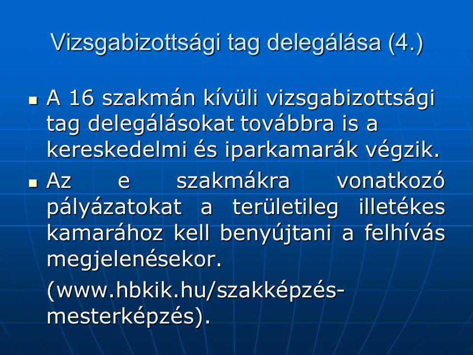 Vizsgabizottsági tag delegálása (4.) A 16 szakmán kívüli vizsgabizottsági tag delegálásokat továbbra is a kereskedelmi és iparkamarák végzik. A 16 sza