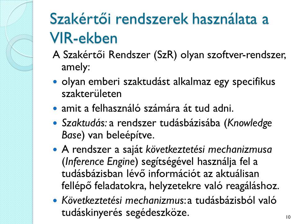 Szakértői rendszerek használata a VIR-ekben A Szakértői Rendszer (SzR) olyan szoftver-rendszer, amely: olyan emberi szaktudást alkalmaz egy specifikus szakterületen amit a felhasználó számára át tud adni.