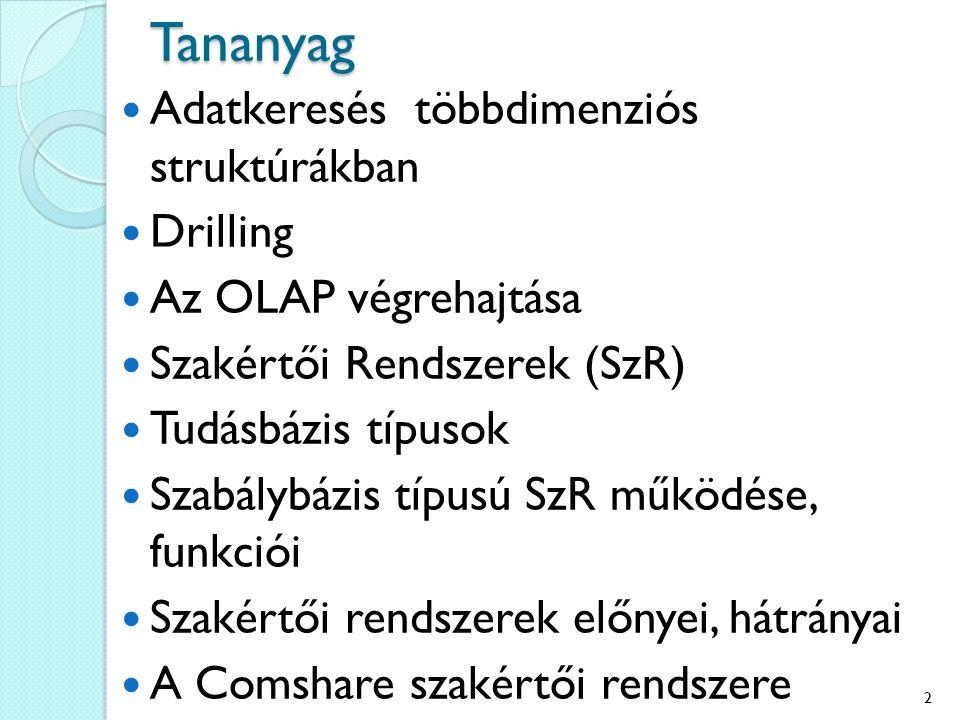 Tananyag Adatkeresés többdimenziós struktúrákban Drilling Az OLAP végrehajtása Szakértői Rendszerek (SzR) Tudásbázis típusok Szabálybázis típusú SzR működése, funkciói Szakértői rendszerek előnyei, hátrányai A Comshare szakértői rendszere 2