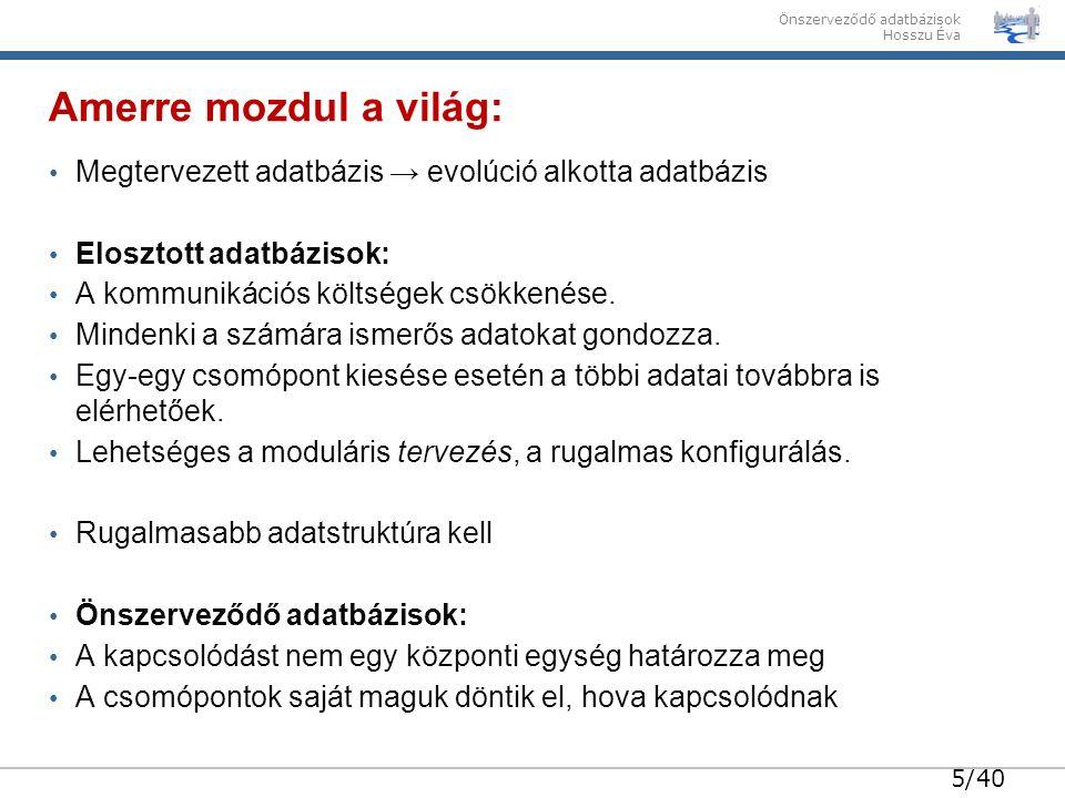 26/40 Önszerveződő adatbázisok Hosszu Éva Valós hálózatok