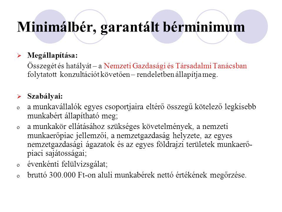 Minimálbér, garantált bérminimum  Megállapítása: Összegét és hatályát – a Nemzeti Gazdasági és Társadalmi Tanácsban folytatott konzultációt követően