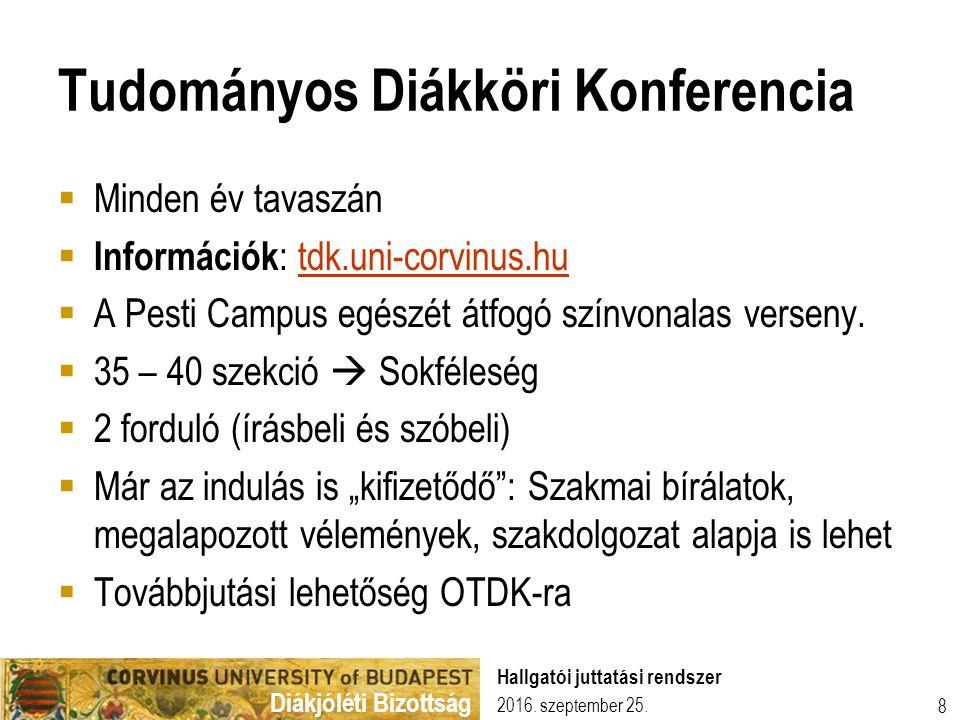 Diákjóléti Bizottság Tudományos Diákköri Konferencia  Minden év tavaszán  Információk : tdk.uni-corvinus.hutdk.uni-corvinus.hu  A Pesti Campus egés