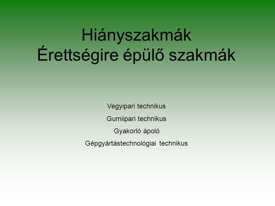 Hiányszakmák Érettségire épülő szakmák Vegyipari technikus Gumiipari technikus Gyakorló ápoló Gépgyártástechnológiai technikus